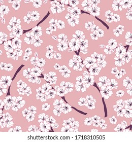 Hand drawn seamless pattern of white spring sakura, flowers, blooming tree branches, floral elements. Colorful doodle sketch illustration for design card, invitation, wallpaper, wrapping paper, fabric
