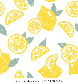 Hand drawn seamless pattern with yellow lemons and leaves on white background