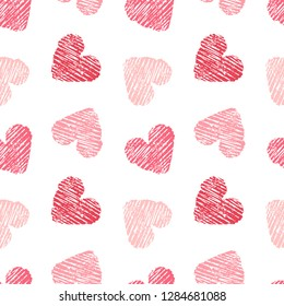 Hand drawn seamless pink heart pattern. Valentines day vector background.