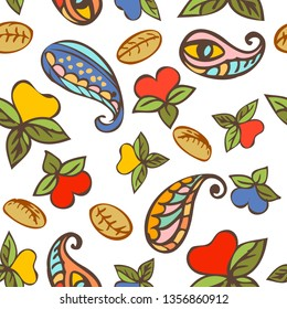 Hand drawn seamless repeat pattern pattern with floral Turkish cucumbers. Trendy and stylish floral texture, wallpaper, web background, fabric design.