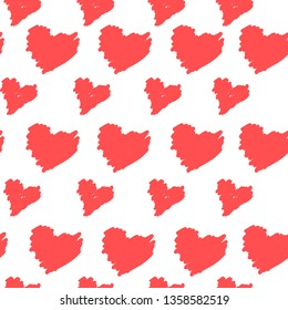 Hand drawn seamless repeat pattern with hearts. Seamless pattern of doodle hearts. Brush drawing