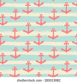 Hand drawn seamless repeat pattern with anchors in red on a striped background.