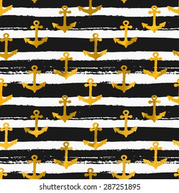 Hand drawn seamless repeat pattern with golden anchors on black and white striped background.