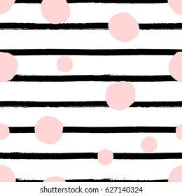 Hand drawn seamless repeat pattern with round shapes in pastel pink and black stripes texture on white background. Modern and original textile, wrapping paper, wall art design.