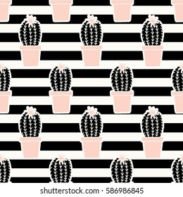 Hand drawn seamless repeating pattern with cactus plants in black and pastel pink on striped background.