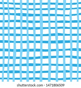 hand drawn seamless traditional Oktoberfest patterns. Blue and white checkered background. Watercolor illustration for design of postcard, paper, textile, home decor, menu