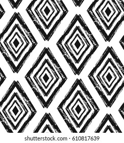 Hand drawn seamless tribal pattern in black and white. Modern textile, wrapping paper, wallpaper design.Hand made texture.