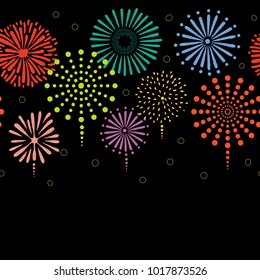 hand drawn seamless vector horizontal border with colorful fireworks on a black background design