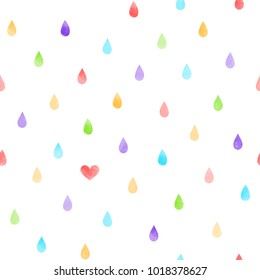 Hand drawn seamless vector pattern with watercolor rain drops and a heart, on a white background. Design concept kids textile print, wallpaper, wrapping paper.