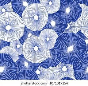 Hand drawn seamless vector pattern. Blue and white circles on a white background for printing, fabric, textile, manufacturing, wallpapers.
