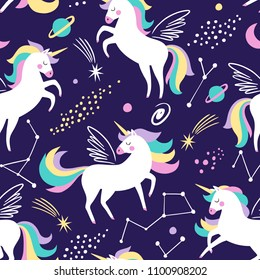 Hand drawn seamless vector pattern with cute unicorns, stars and planet. Repetitive wallpaper on dark blue background. Perfect for fabric, wallpaper, wrapping paper or nursery decor.