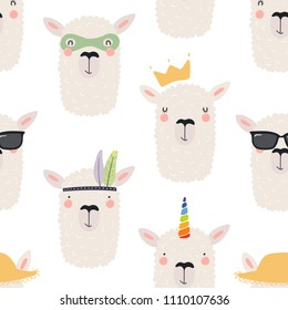 Hand drawn seamless vector pattern with different cute llama faces, on a white background. Scandinavian style flat design. Concept for children, textile print, wallpaper, wrapping paper.