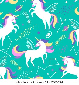 Hand drawn seamless vector pattern with cute unicorns, stars and planet. Repetitive wallpaper on turquoise background. Perfect for fabric, wallpaper, wrapping paper or nursery decor.