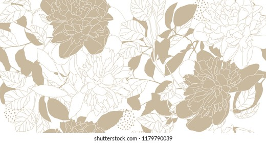 Hand drawn seamless vector pattern. Golden peonies and leaves on a white background for printing, fabric, textile, manufacturing, wallpapers.