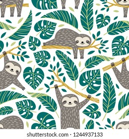 Hand drawn seamless vector pattern with cute sloths and tropical palm leaves on white background.