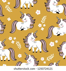Hand drawn seamless vector pattern with cute baby unicorns and flowers on yellow background. Perfect for fabric, wrapping paper or nursery decor.