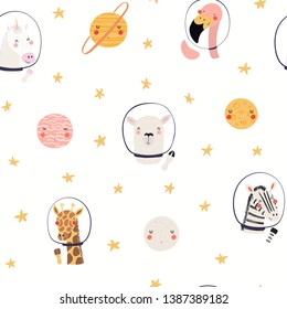 Hand drawn seamless vector pattern with cute animal astronauts, stars, in space, on a white background. Scandinavian style flat design. Concept for children, textile print, wallpaper, wrapping paper.
