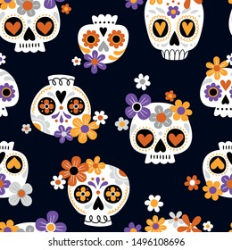 Hand drawn seamless vector pattern with cute sugar skulls and flowers. Perfect for fabric or wrapping paper. You can find the matching tee-shirt logo in my Halloween set.