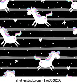 Hand drawn seamless vector pattern with cute unicorns, stars . Repetitive wallpaper on white background.
