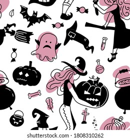 Hand drawn seamless vector pattern with cute witches gorls in Halloween costumes, on a white background. Scandinavian style flat design. Concept for girly textile print, wrapping paper. Black and pink