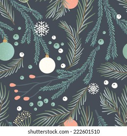 Hand drawn seamless vector pattern. Fall/winter themed background.