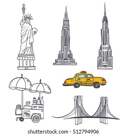 Hand drawn seamless vector pattern with symbols of New York City, statue of liberty, hot dog stand, Brooklyn bridge, Chrysler building, Empire State Building