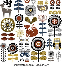 Hand drawn seamless vector pattern on white background. Scandinavian style drawing of flowers, woodland animals and traditional motifs.