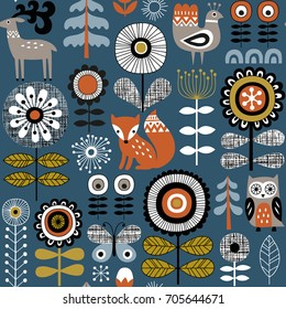 Hand drawn seamless vector pattern on dark blue background. Scandinavian style drawing of flowers, woodland animals and traditional motifs.