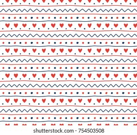 Hand drawn seamless vector pattern of a simple Scandinavian ornament, on a white background. Design concept for Christmas, kids textile print, wallpaper, wrapping paper.