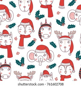 Hand drawn seamless vector pattern with cute animal faces in Santa hats, mufflers, on a white background with holly. Design concept for Christmas, winter, kids textile print, wallpaper, wrapping paper