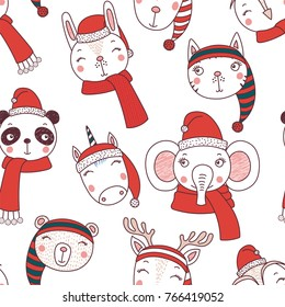 Hand drawn seamless vector pattern with cute animal faces in Santa hats, mufflers, on a white background. Design concept for Christmas, winter holidays, kids textile print, wallpaper, wrapping paper.