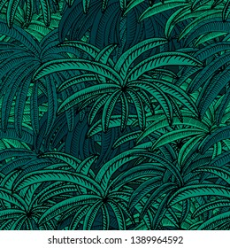 Hand drawn seamlessly repeating pattern of an exotic palm tree jungle on a moonlit night - Vector. Suitable for use in crafting, wallpaper, backdrops, fashion, deco etc.