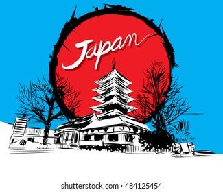 Hand drawn of Sensoji-ji Temple - Asakusa district, Japan