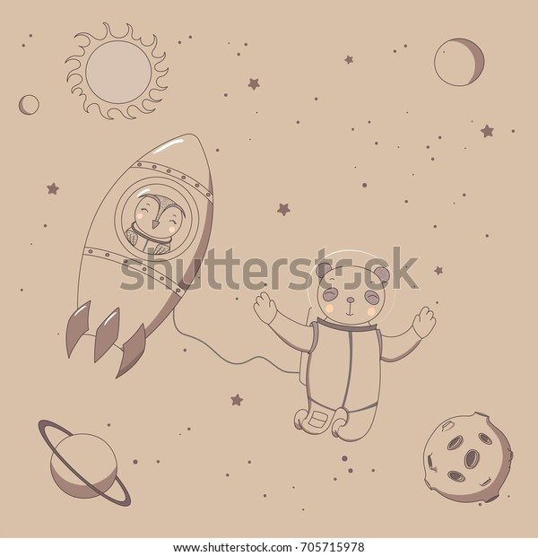 Hand drawn sepia vector illustration of a cute funny owl astronaut in a rocket and panda on a spacewalk, on a background with stars and planets. Isolated objects. Design concept kids.