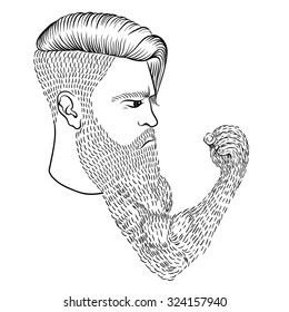 95026886463c7 Hand drawn serious hipster man with long beard like human hand and fist.  Sketch vector