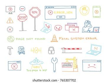 Hand drawn set 404 system error page not found vector sketch