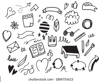 hand drawn set of abstract comic doodle elements. use for concept design. isolated on white background. vector illustration