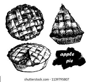 hand drawn set apple pie,vector illustration