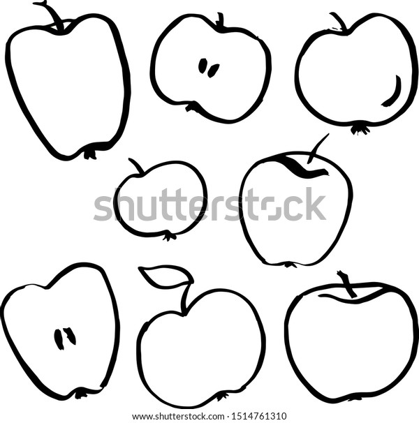 Hand drawn set of apples