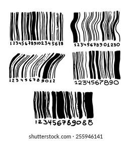 Hand drawn set of bar-codes.