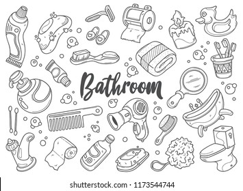 Hand drawn set of Bathroom doodles in vector. in this picture you can get some illustrations of toiletries.
