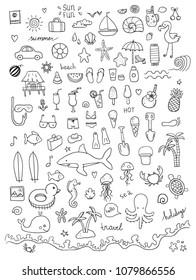 Hand drawn set of beach doodles