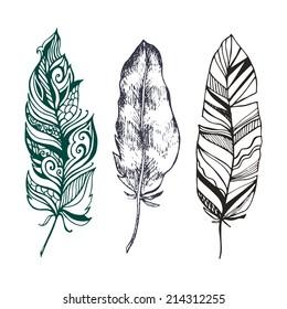 hand drawn set of beautiful stylish Ethnic feathers (tattoo design sketch) - vector illustration