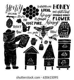 Hand drawn set. Beehive. Honeycomb. Honey. Beekeeper.