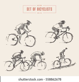 Hand drawn set of bicyclist rider men, isolated on background, vector illustration, sketch