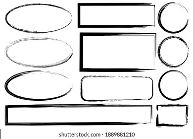 Hand drawn set with black grunge ovals rectangles. Hand drawn abstract vector set. Stock image. EPS 10.