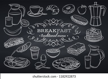 Hand drawn set breakfast icons on chalkboard. Jug of milk, coffee pot, cup, juice, sandwich and fried eggs. Pancakes, toast with jam, croissant, cheese and flakes with milk. Vector illustration.