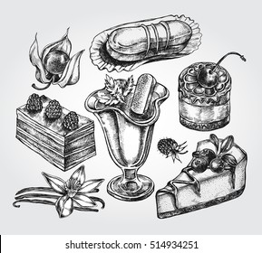 Hand drawn set of cakes and desserts. Vector illustration. Menu or signboard template for restaurant, confectionery, bakery.
