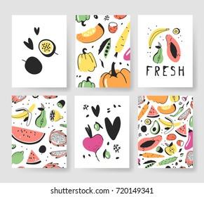 Hand drawn set of cards with fruits and vegetables. Vector artistic illustration food. Vegan drawing papaya, banana, pear, passion fruit, beetroot, carrot, pepper, avocado, potato, lemon, watermelon