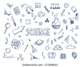 Hand drawn set of cartoon science elements. Doodle collection with atom, chemical formula, graphic, book, arrow, microscope, school, biology, algebra objects. Vector illustration.